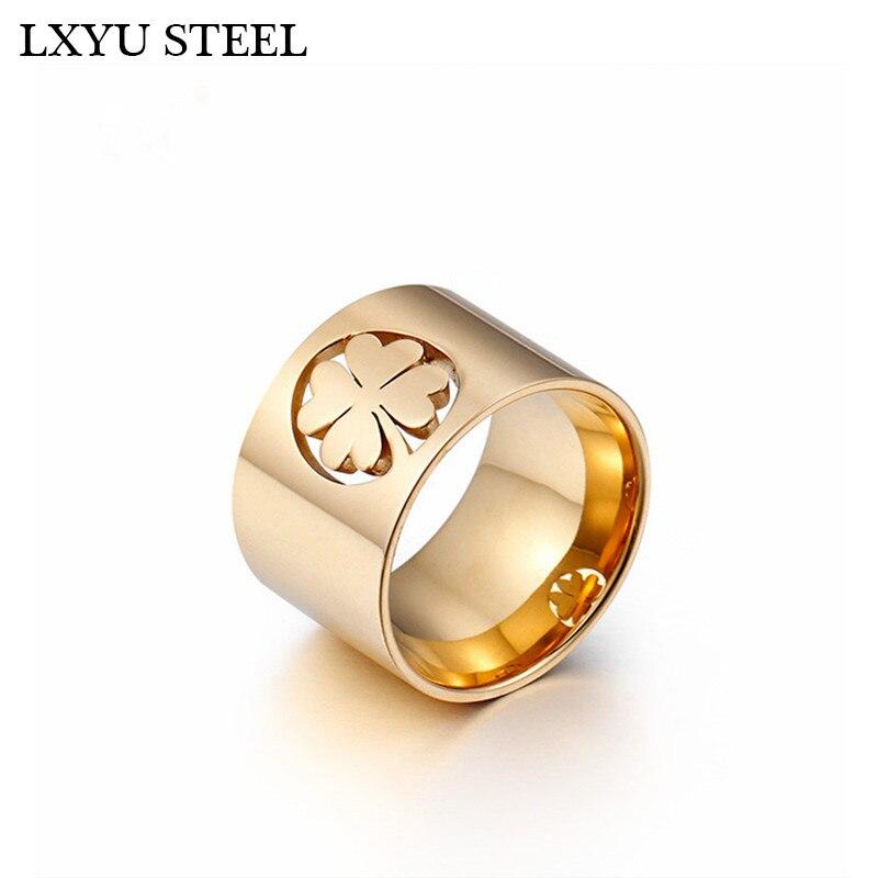 Полированный Клевер нержавеющая сталь, кольцо для женщин золотого/серебряного цвета, кольца на палец, Размер 6 7 8 9, модные украшения, оптовая продажа