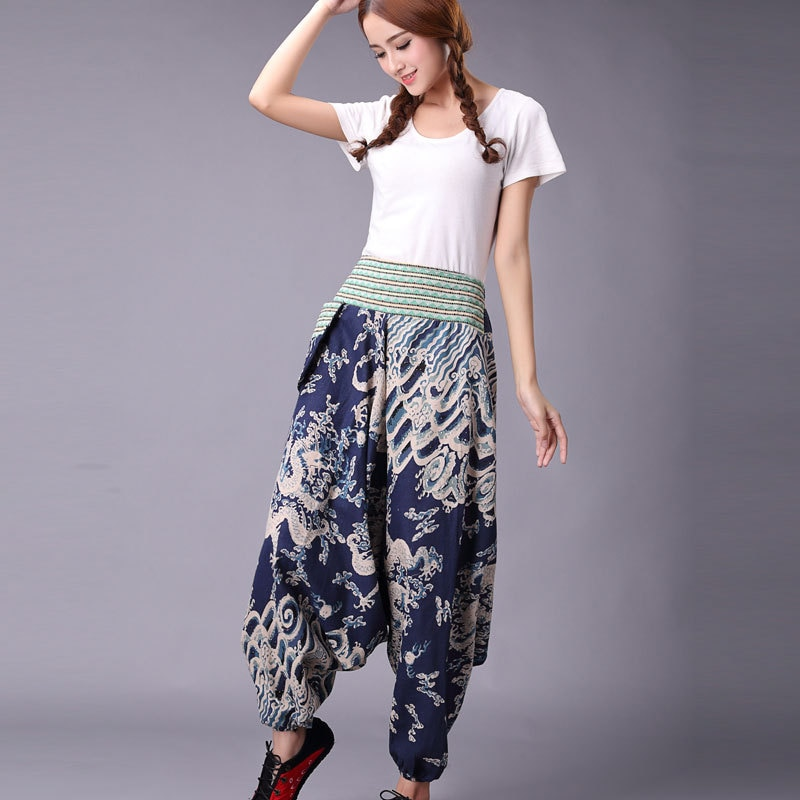 Yoga Pants Casual Pant for Women Indian Nepal Harem Loose Wide Leg Cotton Linen Printed Yoga Leisure Trousers Slacks for Female