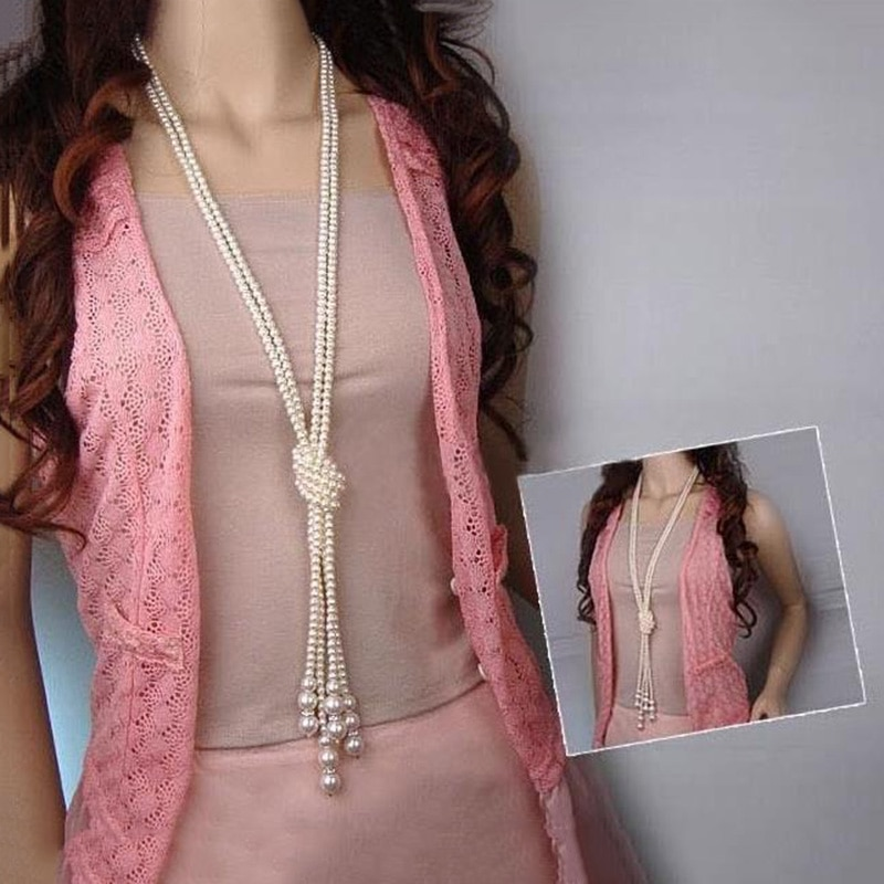125cm doble nudo perlas simuladas collar con borlas largo larga nudo borla collar de mujer suéter de moda de la joyería de Boho
