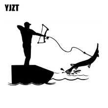 YJZT 14cm*9.6cm Bowfishing Fashion High Quality Vinyl Car Sticker Decals Black Silver Accessories C1