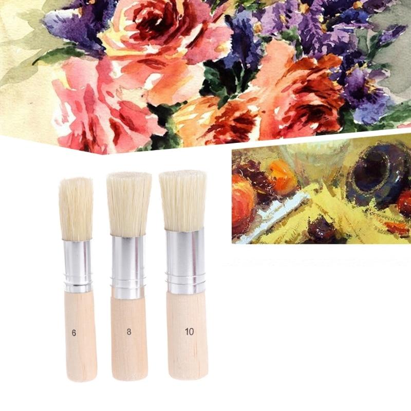 3 uds pincel plantillas cerdo cepillos de cerdas de mango de madera artesanía plantilla herramienta de pintura aceite pintura pinceles