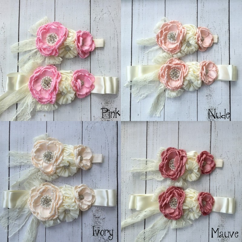 Chiffon Flower Sash Belt Set Matching Baby Girl Headband Flower Belt Infant Hair Accessories with Sparkling Rhinestone