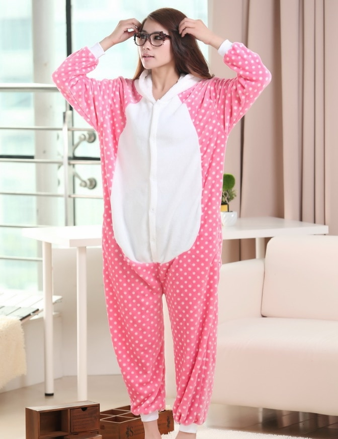 Animal Rosa kitty Onesies mujeres adulto franela pijamas mono ropa de casa Halloween Sleepsuit Navidad disfraces de fiesta Cosplay