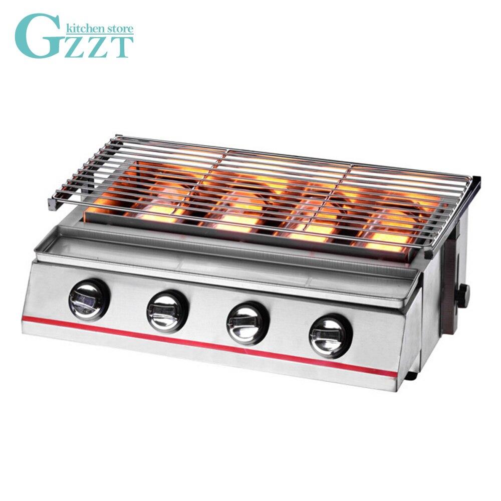 Gzzt 4 queimadores de gás churrasco infravermelho sem fumaça assadeira grelha a gás lpg piquenique churrasqueira para cozinha ao ar livre ferramenta