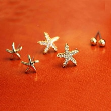 Sale 3 Pairs/Bag Lady Popular Charming Starfish Shaped Ear Stud Wholesale Earrings