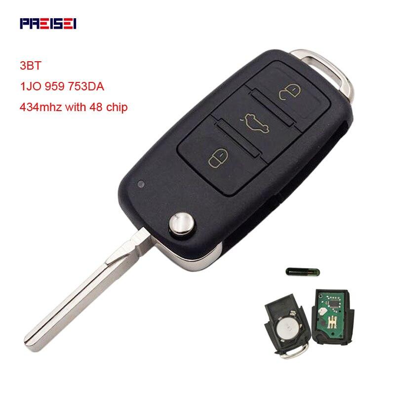 PREISEI 3 Botão Virar Chave Remota Do Carro para o Banco VW SKODA Fabia Roomster Superb 434 MHz ID48 Chip 1J0 959 753DA