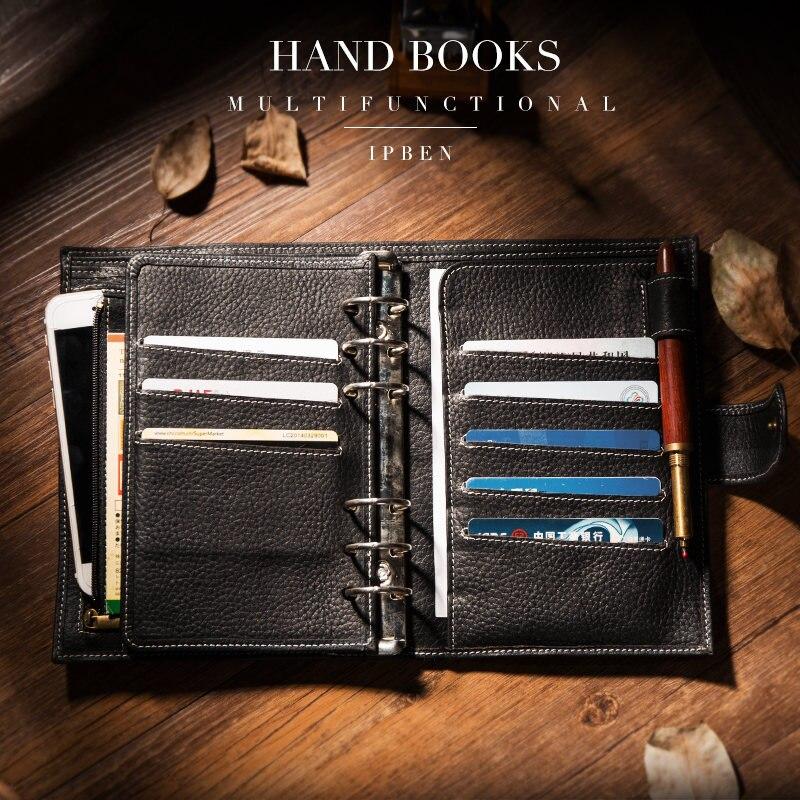 Ipben 2019 novo a6 a7 bolso pessoal planejador de couro de vaca genuína clássico espiral caderno negócios manual binder armazenamento diário