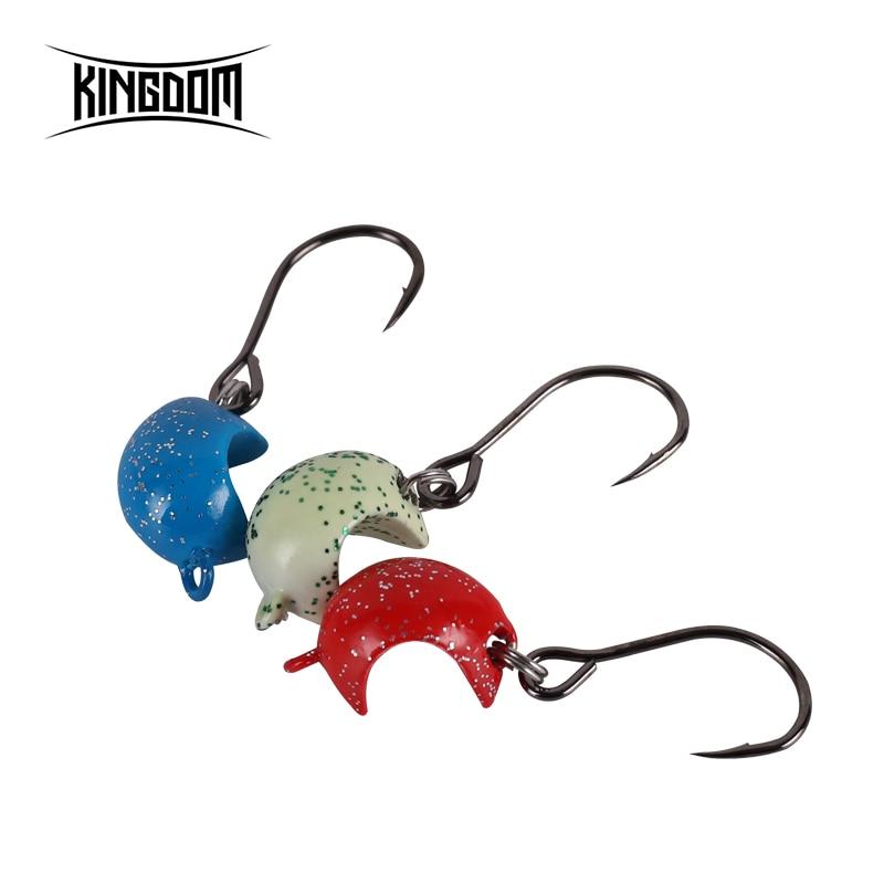 Kingdom 3.5g/5.5g/7.5g/10.5g 3pcs/box Fishing Jig Head Hook Unique Shape Used With Soft Bait Wobblers Fishing Tackle Model 3019