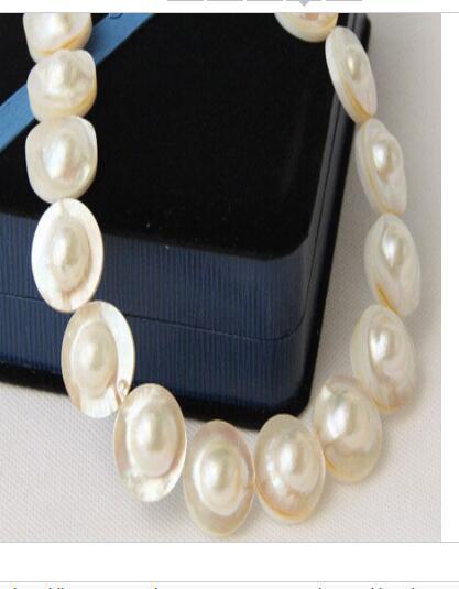 Mulheres palavra presente Jóias 17 INCH FECHO de OURO BIG HUGE enuine AAAA 23mm South Sea Pearls branco Mabe colar