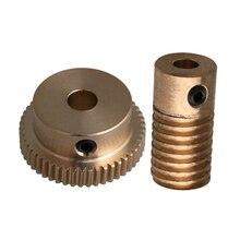 CNBTR 0.5 Modulus 1:50 Reduction Ratio Brass Worm Gear Wheel 50 Teeth & Brass Worm Shaft 4mm Bore Dia