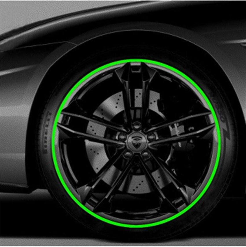 8 m/Roll Hub Aro Anel Protetor De Borracha De Pneu Da Roda de Carro Tira Decoração Moulding LineGreen