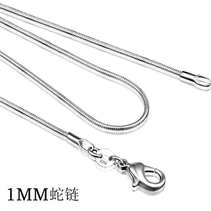 """Женское Ожерелье из стерлингового серебра 925 пробы, Серебряное модное ювелирное изделие, цепочка-змея 1 мм, ожерелье 16 18 20 22 24"""""""