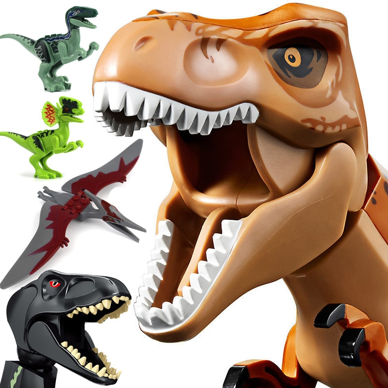 Dinosaurio Jurassic world Park Raptor Pterosaurs Triceratops modelo bloques de construcción figuras Playmobil juguetes para niños