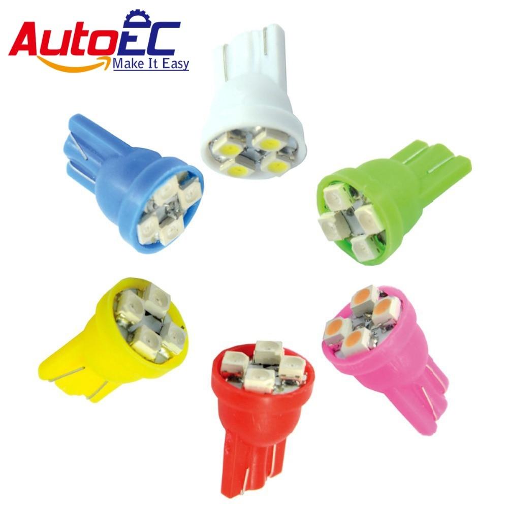 AutoEC 100X intermitentes de coche lámparas LED T10 194 168 W5W 4SMD 3528 LED 4300K-6000k blanco rojo azul verde amarillo Rosa # LB01