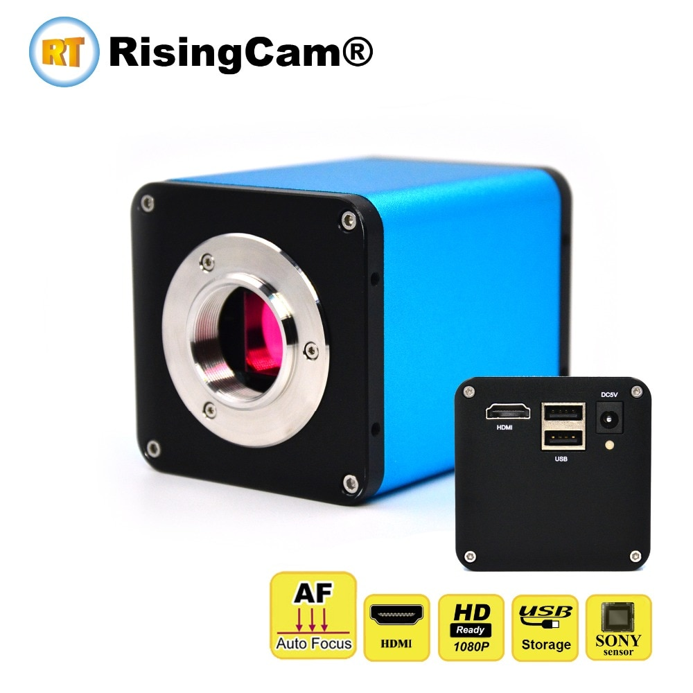 Enfoque automático U disco de almacenamiento de 1080p HDMI 60fps SONY CMOS sensor C montaje industrial estéreo microscopio Cámara