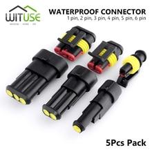 TSLEEN-conector de cable eléctrico para coche y camión, 5 unidades, impermeable, 1/2/3/4/5/6 Pin Way Seal Quad Bike 12A IP68