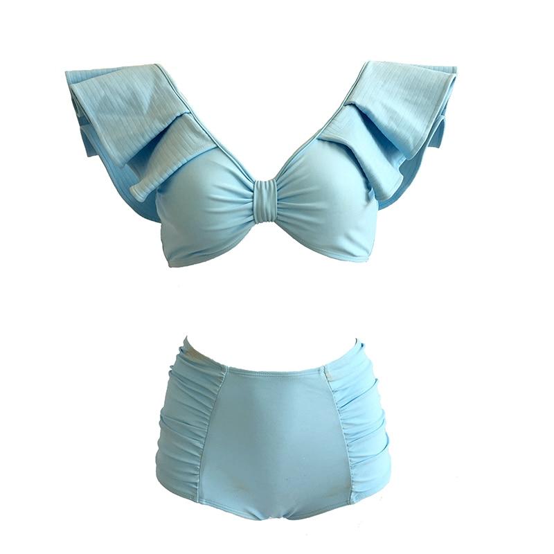 2019 Sexy Bikinis Set Ins diseñador Australia cielo azul Ruffled Lujo Señora brasileño mujeres playa traje de baño