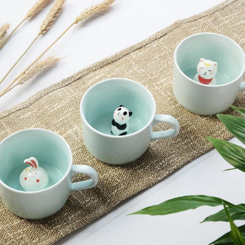 New Arrive Creative Cartoon Ceramic Mugs Cute Animal Coffee Milk Tea Cup 220ml Novelty Birthday Gifts Mugs