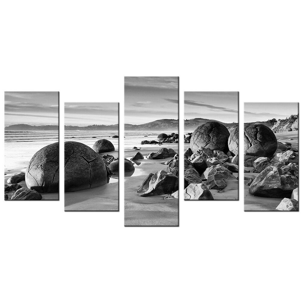 Increíble pintura de naturaleza, Mar Blanco y Negro, arena de playa, rocas, paisaje moderno, arte de pared, piedra, lienzo, cuadro Modular, decoración del hogar