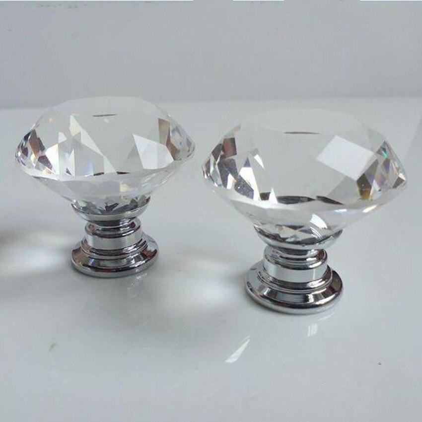 40mm 30mm Diamante de imitación transparente perilla para cajón de gabinete tirar de cristal de vidrio armario manija de la puerta perilla moderna muebles de moda mando