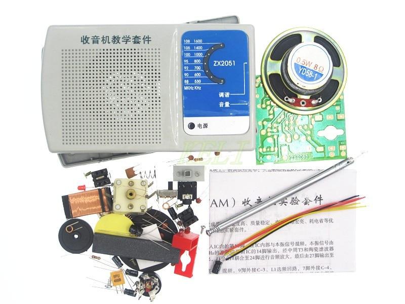 Hailangniao 1 conjunto dc3v diy zx2051 tipo ic fm am kit de rádio kit aprendizagem eletroinc
