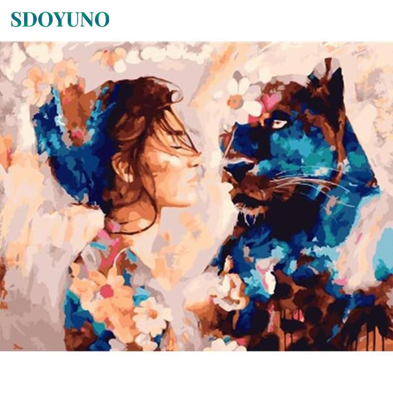 SDOYUNO 60x75cm resimleri by numbers DIY Çerçeve Boyama By Numbers Yetişkinler Şekil Boyama tuval Ev Dekor duvar Sanatı Hediye