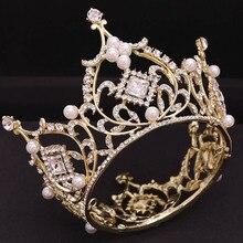 Luxe plein cercle strass reine princesse diadème et couronne casque bijoux simulé perle mariage mariée cheveux accessoires