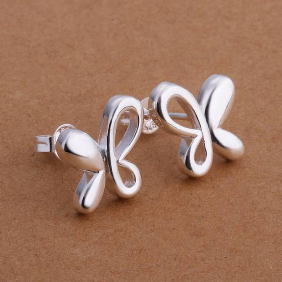Mujeres boda fiesta regalo Top popular calidad color plata pequeña pendiente de mariposa de joyería envío gratis precio de fábrica E314