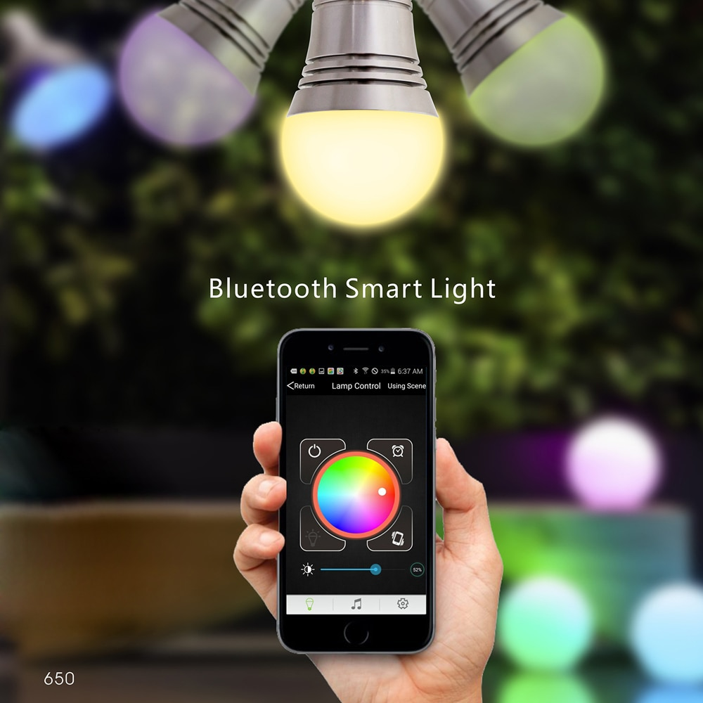 Lixada Superlight LED z bluetooth RGB Inteligentna żarówka E27 żarówka smartfon kontrolowane ściemniania zmiana koloru lampy do iPhone i iPad