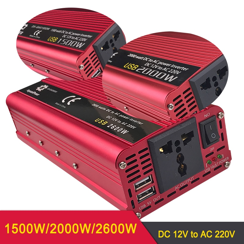 Profesional 1500W /2000W /2600W inversor de coche DC 12V/24V a AC 220V inversor de energía cargador fuente de alimentación interruptor cargador convertidor