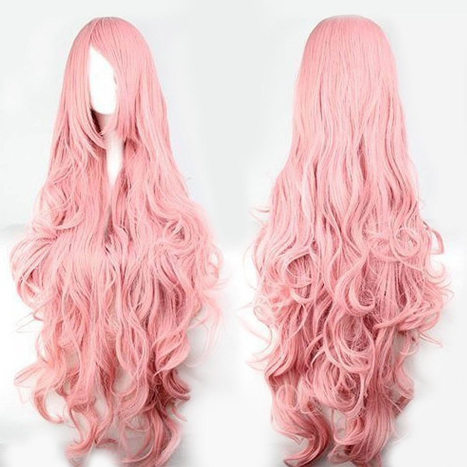 QP Pink Hair synthetic Wigs Air Volume High Temperature Soft Silk Bulk Long Curly Big Wave Wig Cosplay