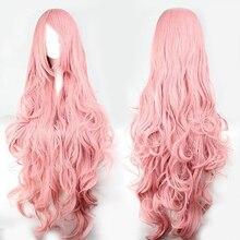 Parrucche sintetiche per capelli rosa QP Volume d'aria capelli morbidi ad alta temperatura capelli sfusi di seta parrucca per capelli lunghi ricci a onda grande Cosplay