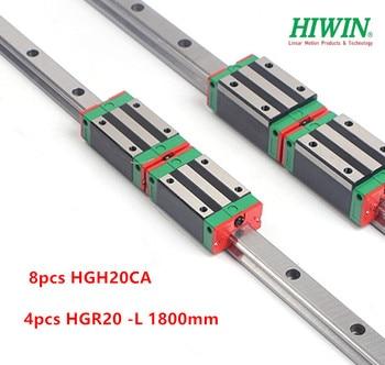 4pcs 100% original Hiwin linear rail guide HGR20 - 1800mm + 8pcs HGH20CA narrow block bearings for cnc router