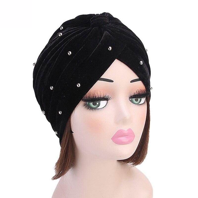 Chapeau écharpe en velours pour femmes musulmanes   Chapeau turban et perle, à volants, bonnet chimo, bonnet, couvre-chef, accessoires pour cheveux