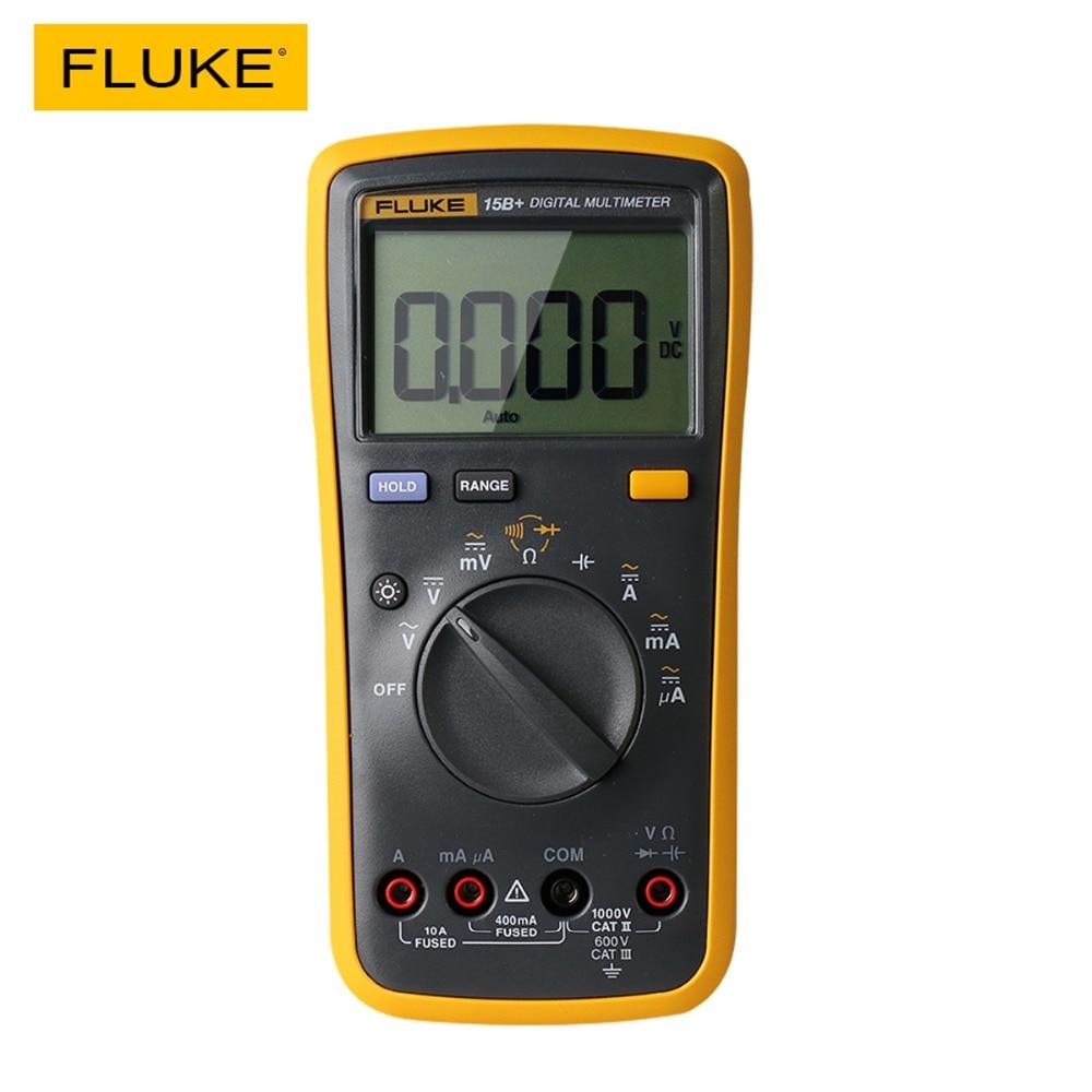 Fluke 15B+ Digital Multimeter Auto Range 4000 Counts AC/DC Voltage Current Resistance Meter Capacitance Frequency Tester