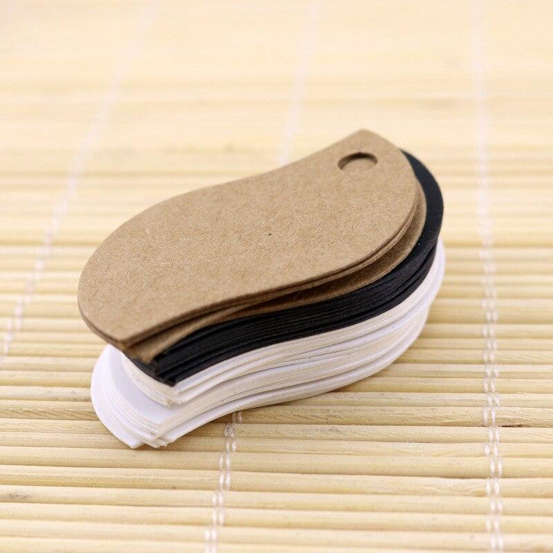 Etiquetas colgantes de Papel kraft con hojas en blanco de 3*5 cm de 100 Uds., tarjeta decorada para regalo, etiquetas de precios para hornear, etiquetas para regalo