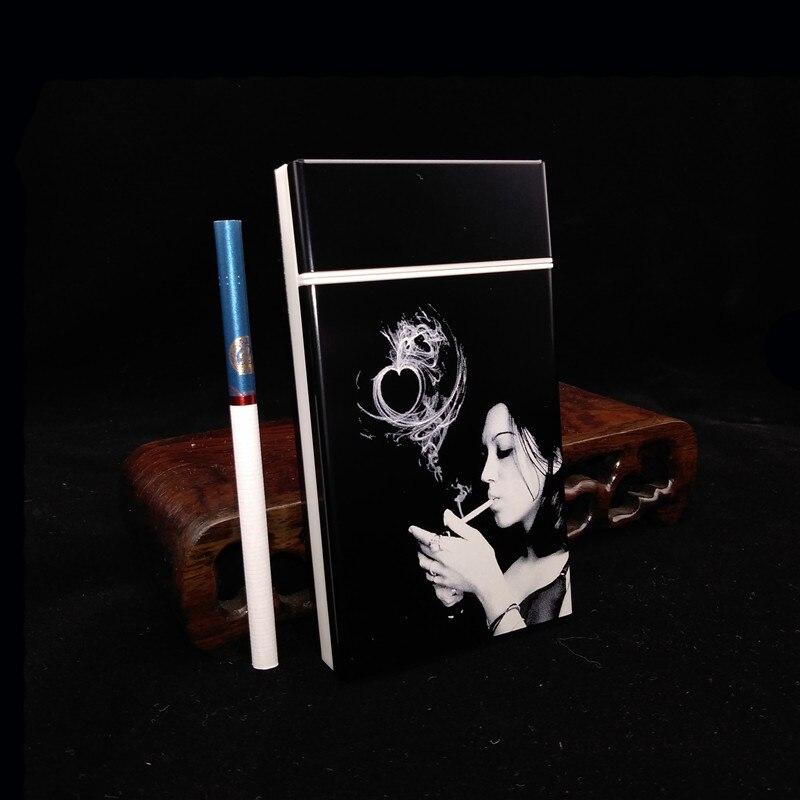 Laifu, caja de cigarrillos de aleación de aluminio y plástico, caja de cigarrillos ultrafina de 100 para mujer, caja de humo grabada con láser, chica sola