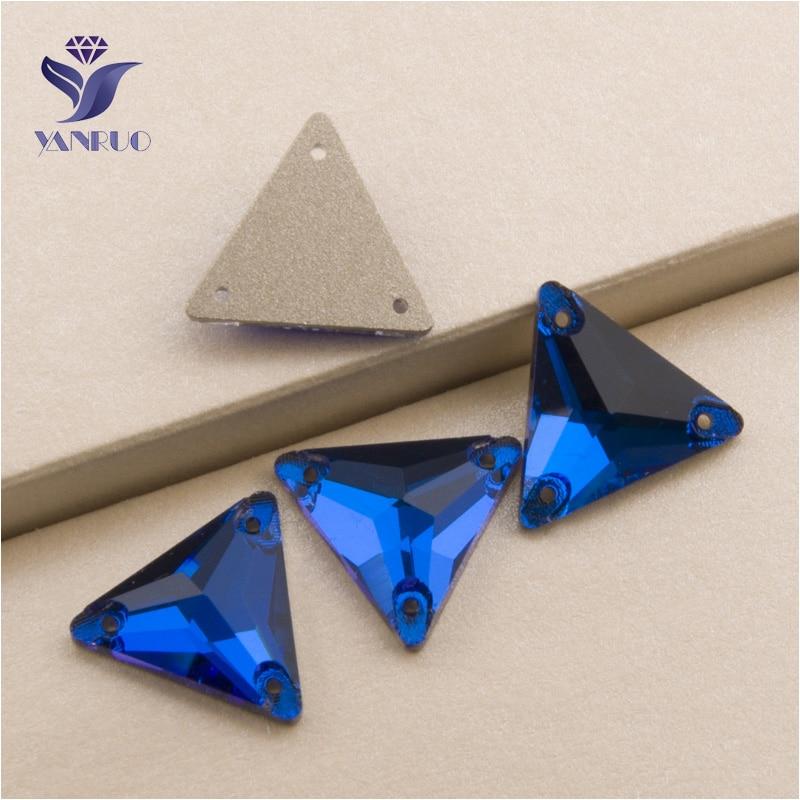 YANRUO 3270 All Sizes Capri Blue Flatback Sewing Garment Triangle Crystal Sew On Strass Rhinestone For Dresses