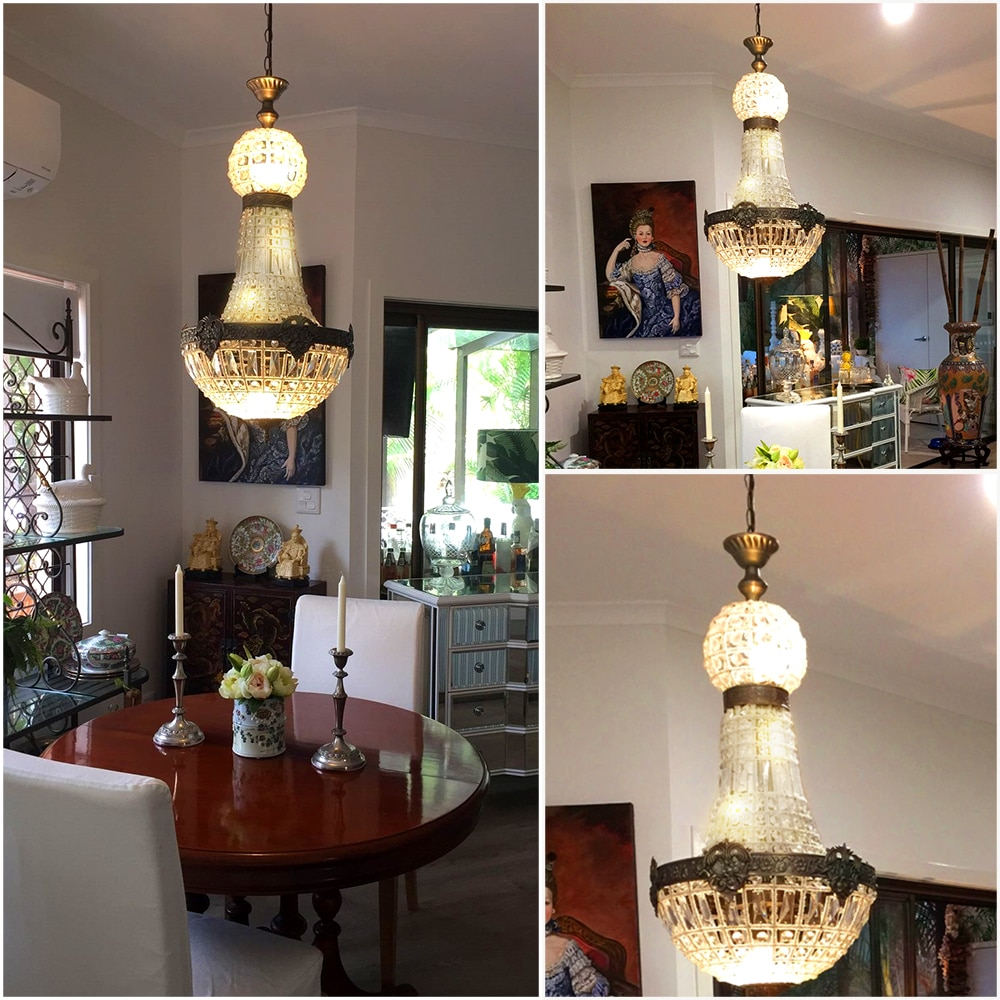 Europe Retro Vintage Charming Royal Empire Style Big Led Crystal Modern Chandelier Lamp Lustres Lights E14 For Hotel Living Room  - buy with discount