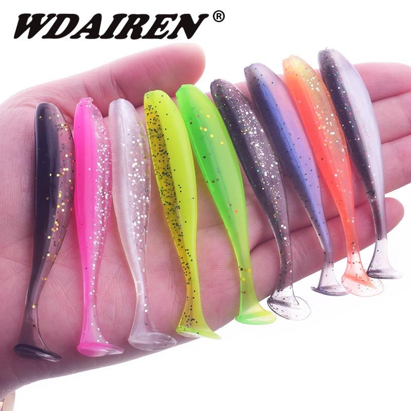 WDAIREN marca plantilla Wobblers señuelo de pesca 5cm 7,5 cm 9,5 cm fácil ojo bajo Swimbait doble Color Artificial de silicona suave cebo