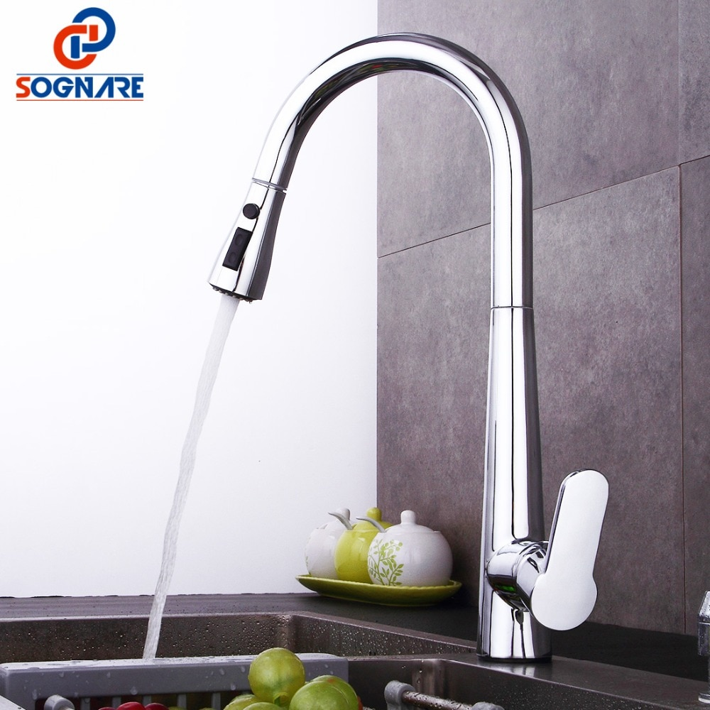 Kitchen Tap Chrome Finished Spring Kitchen Faucet Brass Brushed Nickel Pull Out Kitchen Mixer Sink Mixer Tap 360 Degree Rotation flg spring kitchen faucet swivel side sprayer dual spout kitchen mixer tap brushed nickel kitchen sink faucet 360 rotation
