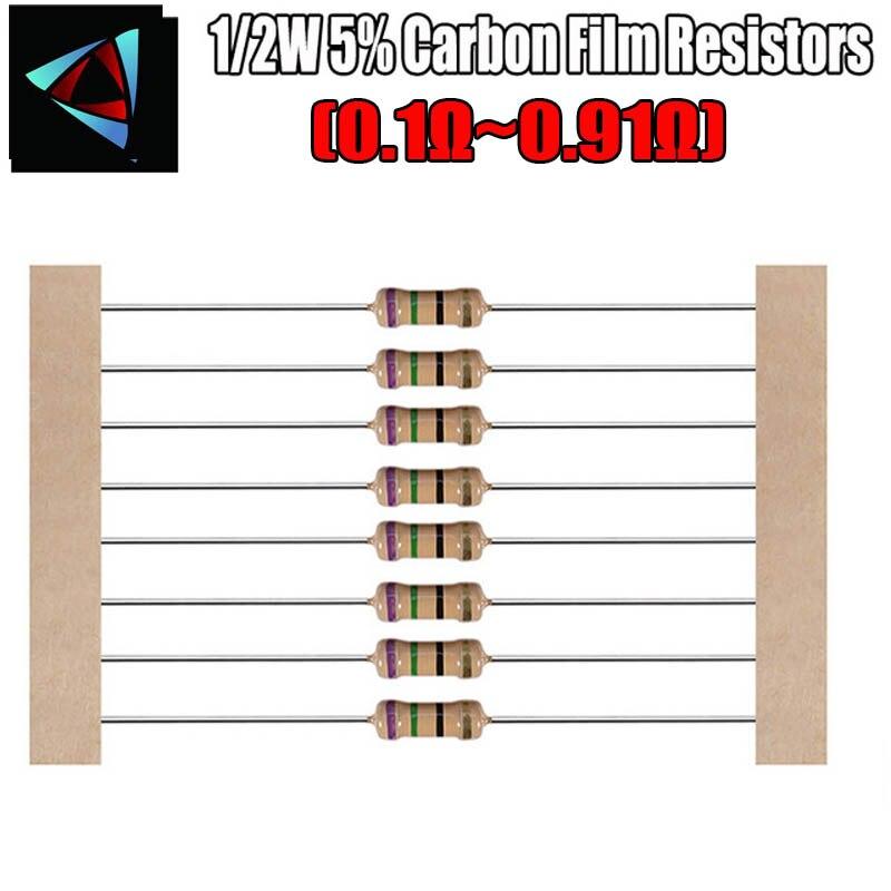 100pcs 1/2W 5% ROHS Carbon Film Resistors  0.1 0.12 0.15 0.18 0.2 0.22 0.24 0.27 0.3 0.33 0.39 0.47 0.5 0.56 0.62 0.68 0.75 ohm