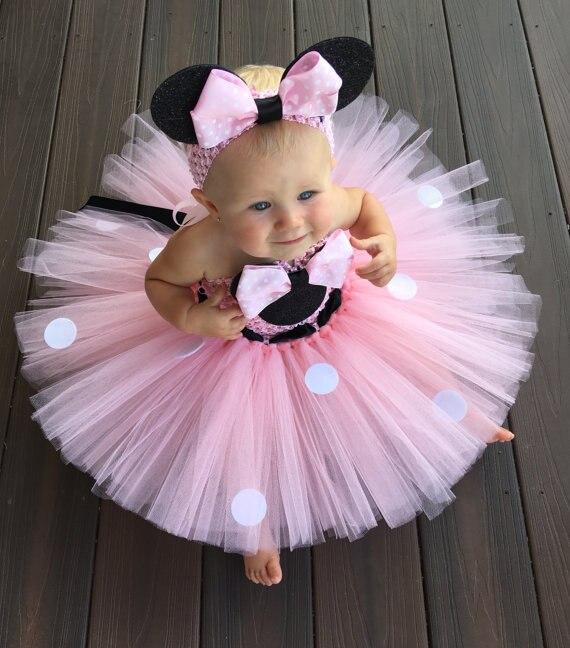 Милое розовое платье-пачка с героями мультфильмов для девочек детские тюлевые пачки в горошек с бантом и повязкой на голову, платье для дня рождения