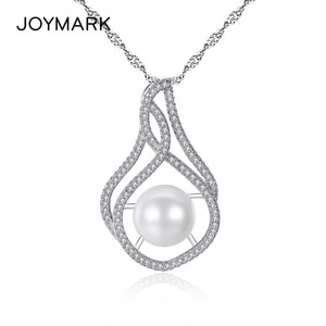 Classic Simple Zircon Pave White Gray Natural Freshwater Pearl Pendant Necklace With S925 Sterling Silver Box Wave Chain JPN318