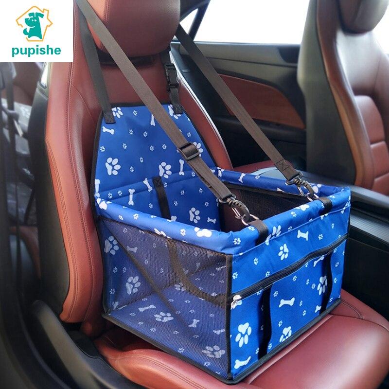 PUPISHE Cão Saco de Portador Do Assento de Carro Assento de Carro Do Cão de Estimação À Prova D Água para Cães Pequenos Filhote de Cachorro de Malha Respirável Dobrável Saco de Assento de Segurança Cesta