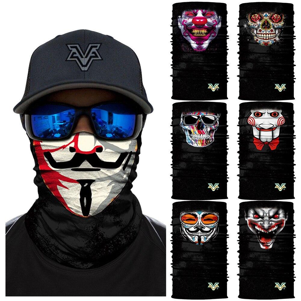 V para venganza Anime bicicleta esquí sin costuras pasamontañas cabeza Joker calavera cuello Bandanas a prueba de viento mágico bufanda ciclismo Hik máscaras