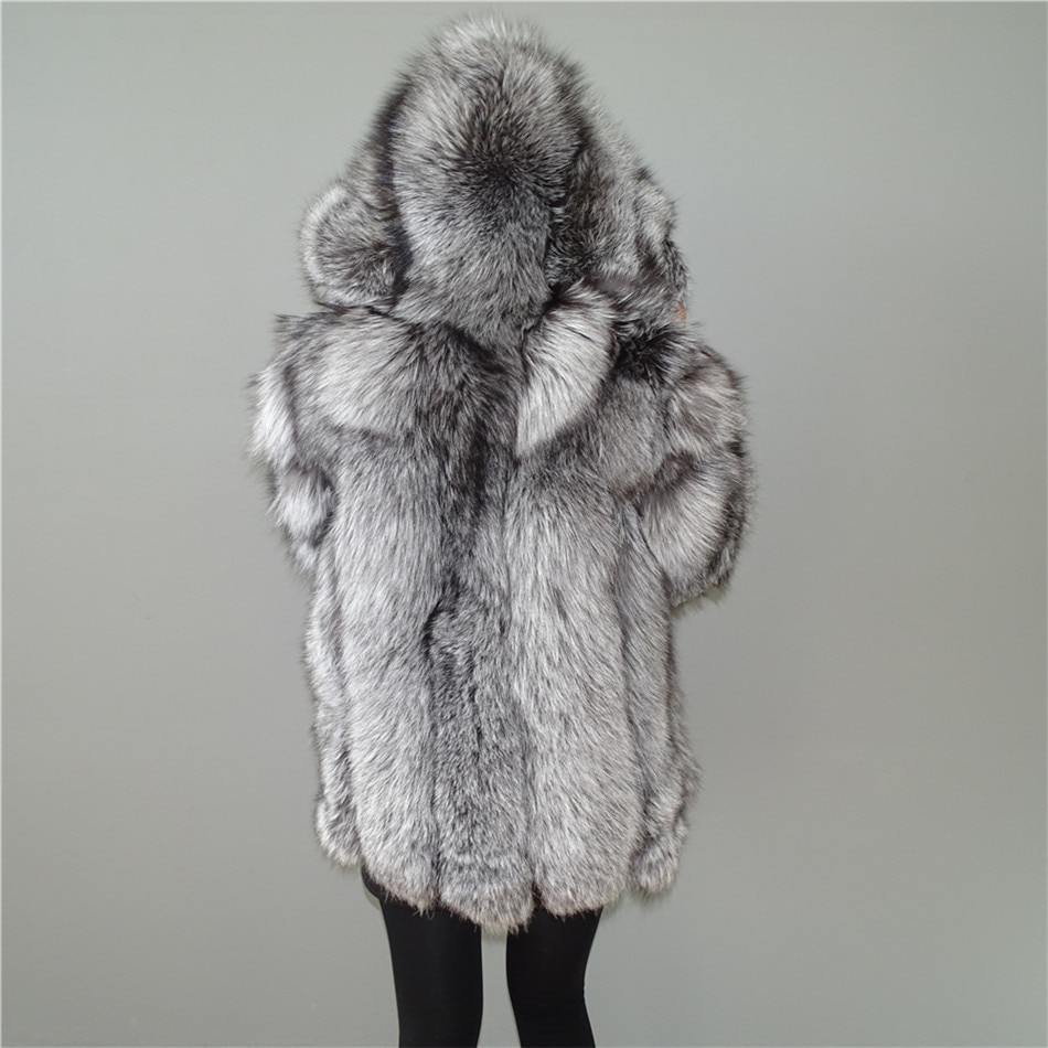 New Real Silver Fox Fur Vertical stripes patchwork leather stripe hooded coat outwear long jacket winter parka Winter Trench