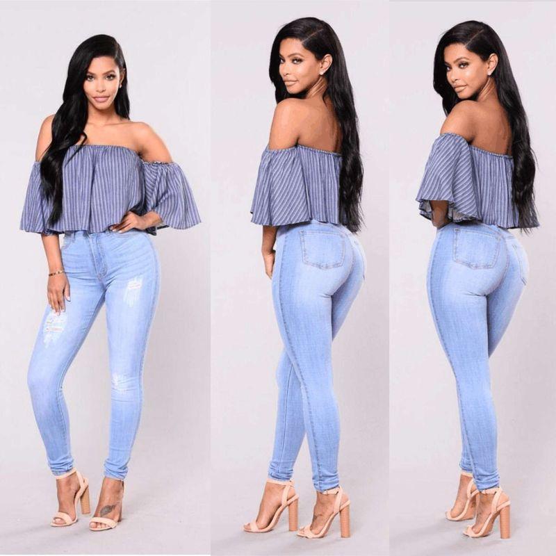 2018 Spring Autumn Plus Size S-2XL Women Denim Pants Skinny Hole Jeans Females Blue Pencil High Waist Trousers