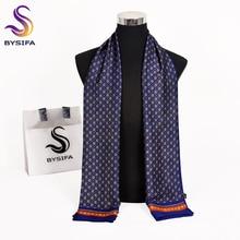 [BYSIFA] 2018 nouvelle marque hommes foulards automne hiver mode mâle chaud bleu marine longue soie écharpe Cravat haute qualité écharpe 170*30cm