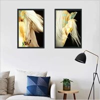 haochu white horses painting poster for living room home decor painting print poster simple nordic wall picture canvas painting